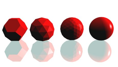 Miglioramento del livello delle competenze. Immagine di quattro solidi. Da sinistra a destra si vede una evoluzione: dal primo solido più grezzo si arriva all'ultimo che si è evoluto in una sfera perfetta.
