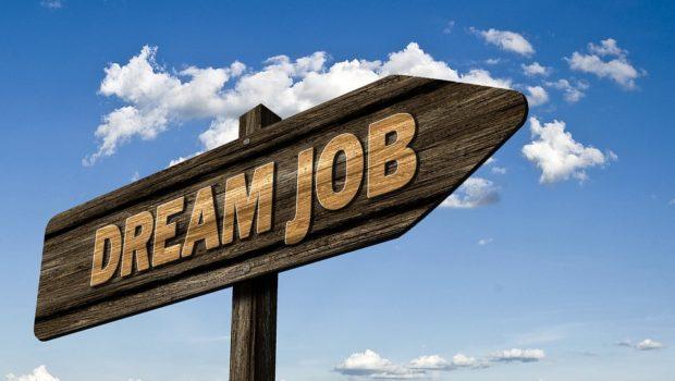 """Quale lavoro per diplomati e laureati? Immagine di un cartello stradale segnaletico con scritto """"Dream Job""""."""